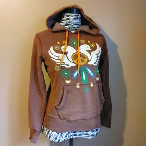 Lucky Brand brown peace doves pullover hoodie